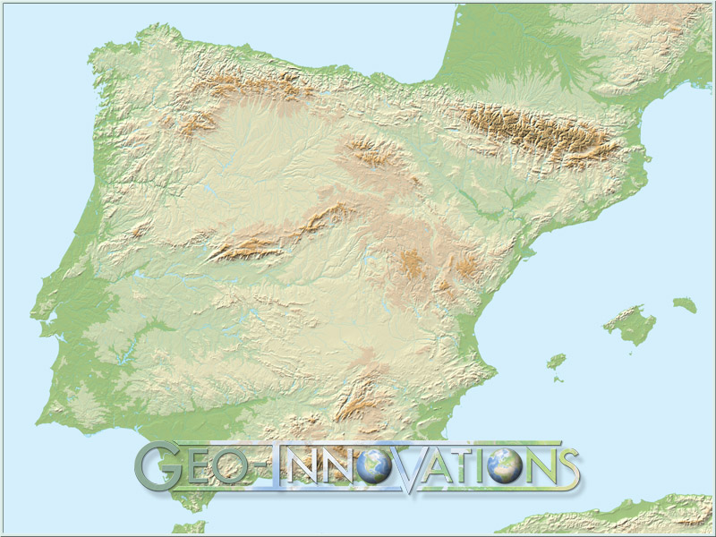 ... Spain Relief Map
